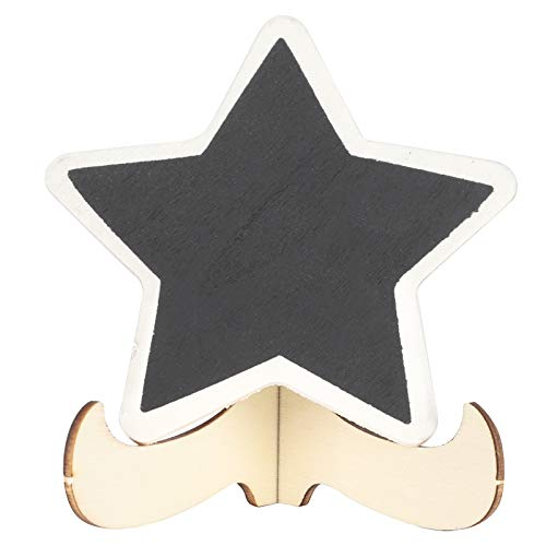 2 juegos de mini pizarra de madera con estrella de cinco puntas, etiquetas para pizarra de madera, tablero de mensajes, etiquetas para letreros, letreros, tarjeta, lugar, pizarra para notas o marcas