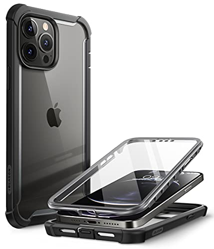 i-Blason Ares Case for iPhone 13 Pro 6.1 inch (2021 Release), Dual Layer Rugged Clear Bumper Case with Built-in Screen Protector - Black