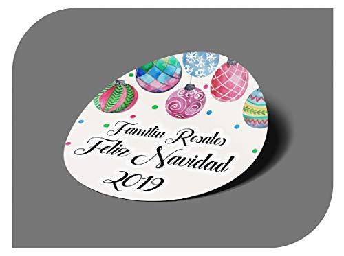 CrisPhy Pegatinas Personalizadas Regalos Navidad, Etiquetas Adhesivas para Invitacion Boda, Bautizo, Compromiso, Comunion, Cumpleaños, Fiesta, Vintage, Sellos (Modelo 4)