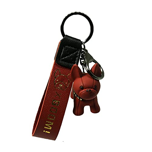 YANPENG Cute French Bulldog Key Pendant School Bag Handbag Car Keychain Pendant (red)