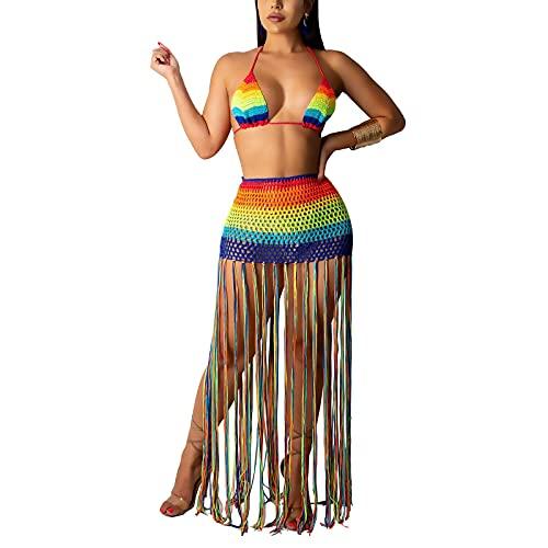 Jeqckloves Las mujeres atractivas de punto bikini cubren arco iris Crochet dos piezas Halter Bandeau Top borla Faldas ahueca hacia fuera traje de baño, Arco Iris, M