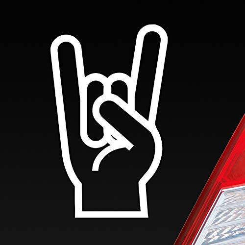 Auto Aufkleber in deiner Wunschfarbe Gabel Rock Heavy Metal Gruss Pommesgabel 8x13 cm Autoaufkleber Sticker Folie