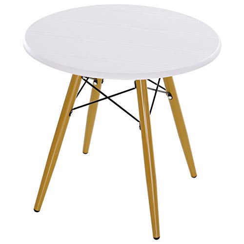 HOMCOM Couchtisch Wohnzimmertisch Beistelltisch Kaffeetisch Teetisch Nachttisch rund MDF + Metall Natur + Weiß Ø60 x H55 cm