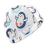 Lindos pingüinos esquiando divirtiéndose Bebiendo té Gorros de natación para niños, Alta Elasticidad, sin deformaciones, protección UV, Gorro de baño cómodo y Resistente al Agua para Cabello cort