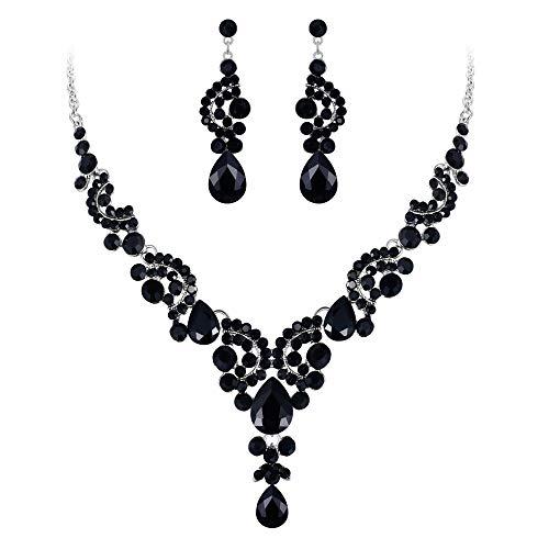 EVER FAITH Rhinestone Crystal Bridal Floral Wave Teardrop Necklace Earrings Set Black Silver-Tone