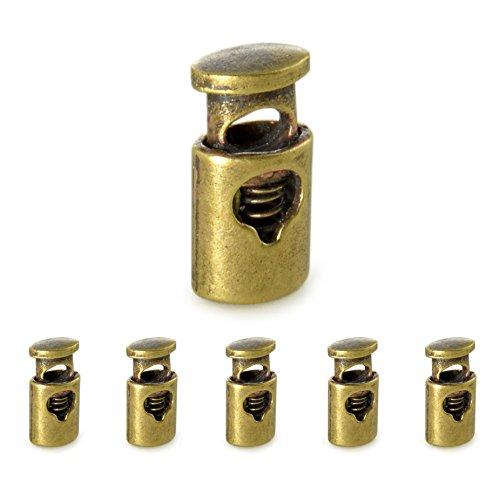 Ganzoo Set edele zilverkleurig metaal - koordstopper/koordklem (rechte vorm/1 gat) voor touwen, jassen enz. Van metaal, merk