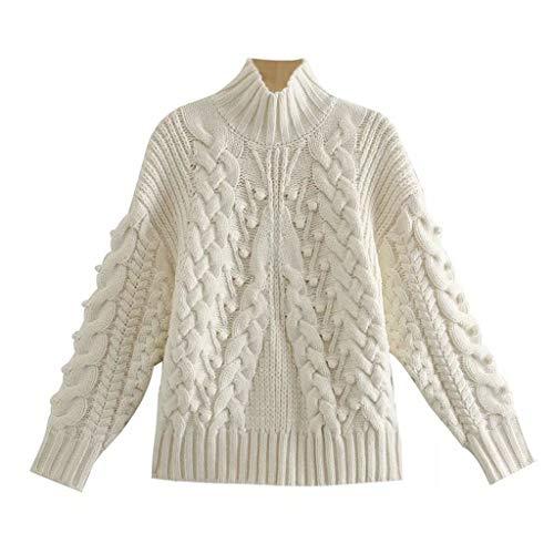 YWSZJ Moda para Mujer Cuerda torcida de Punto Retro de Manga Larga Soporte Suéter con decoración de Hilo de Bola Nuevo