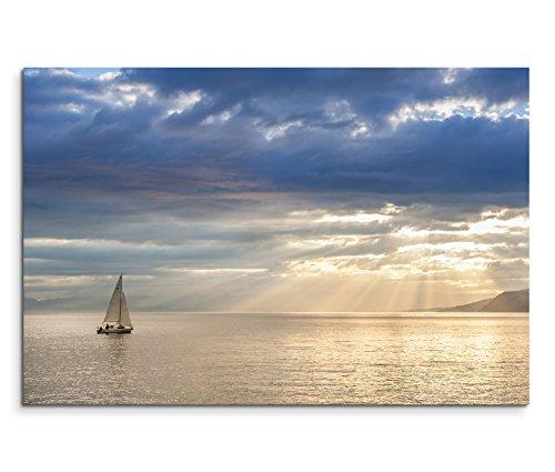 120x80cm Leinwandbild auf Keilrahmen Schweiz Leman See Segelboot Wolken Wandbild auf Leinwand als Panorama