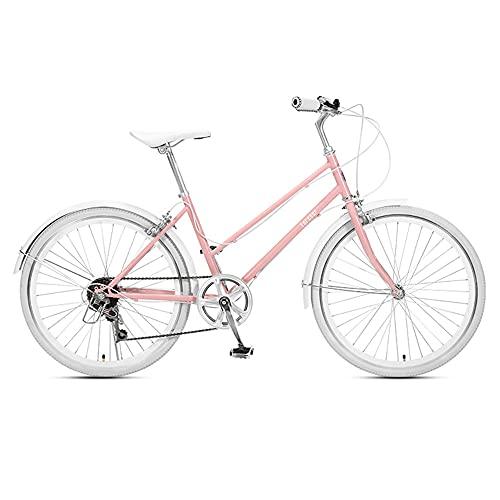 Bicicleta, Bicicleta de Moda para Viajes Cotidianos, Bicicleta de Ocio para Ciudad de 7 Velocidades Y 24 Pulgadas, Altura Del Asiento Ajustable, Marco de Poca Envergadura, Para Adultos Y Adolesce