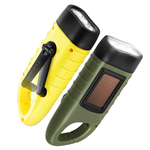 GeeRic 2-Pack Hand Crank Solar Powered Flashlight, Emergency Rechargeable LED Flashlight, Survival Flashlight, Quick Snap Carabiner Dynamo Flashlight Torch for Outdoor Sports, Army Green+Yellow
