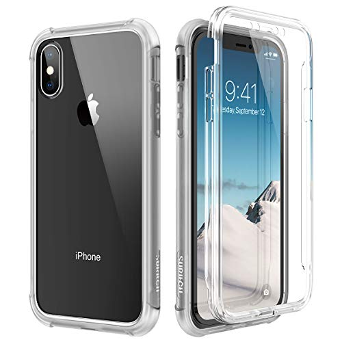 SURITCH Funda iPhone X/XS 360 Grados Transparente y Protector Antigolpes [Ultra Hybrid] Transparent PC Dura Resistente + TPU Silicona Bumper, Doble Cara Carcasa para iPhone XS/X - Blanca