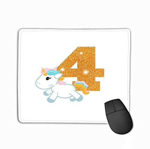 Mouse Pad Muis Mat Verjaardag Jubileum Nummer Schattig Unicron Goud Glinsterende Vier Sjabloon Wenskaarten Karakter