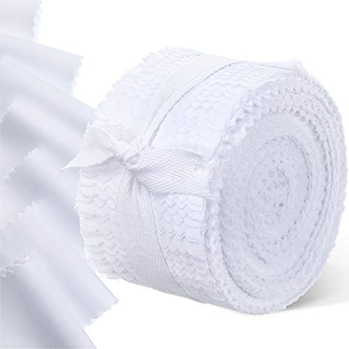 40 Pieces Fabric Strips Rolls Collection Jelly Fabric Strips Solid Quilting Fabric Roll Up Fabric Craft Patchwork Strips DIY Sewing Fabric Rolls for Handmade Favors (White, 2.5 x 44 Inch)