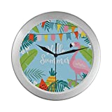 QIAOLII Reloj de Pared Aula Estacional Hot Cool Hello Summer Reloj de Pared para Hombre 9.65 Pulgadas Marco de Cuarzo Plateado Decoración para Oficina/Escuela/Cocina/Sala de Estar/Dormitorio