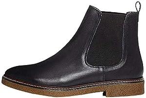 Amazon-Marke: find. Chelsea Boots Damen aus Glattleder, mit Kreppsohle, Schwarz (Black), 39 EU