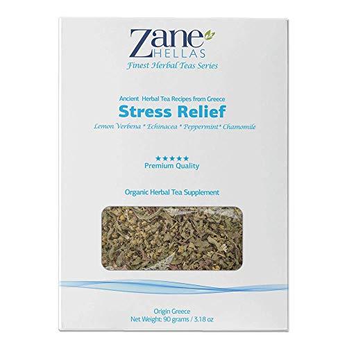 ZANE HELLAS Finest Herbal Teas. Stress Relief. Verbena de limón, equinácea, menta, manzanilla. Té para aliviar el estrés. Promueve la relajación y la tranquilidad. 3.18.oz - 90 gr