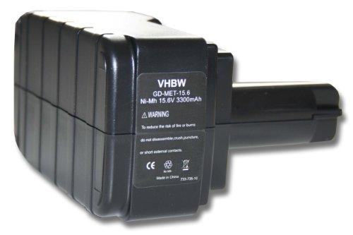 vhbw Ni-MH Akku 3300mAh (15.6V) für Werkzeug Metabo BS 15.6 plus, BST 15.6, BST 15.6 Plus, ULA9.6-18 wie 6.02276.51, 6.02293.50, 6.02307.51.