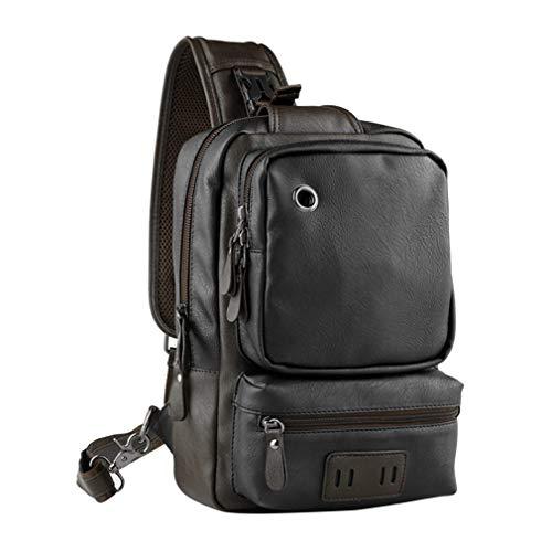 JIE Men Outdoor PU Leather Satchel Bag Chest Bag Crossbody Single Shoulder Bag Black