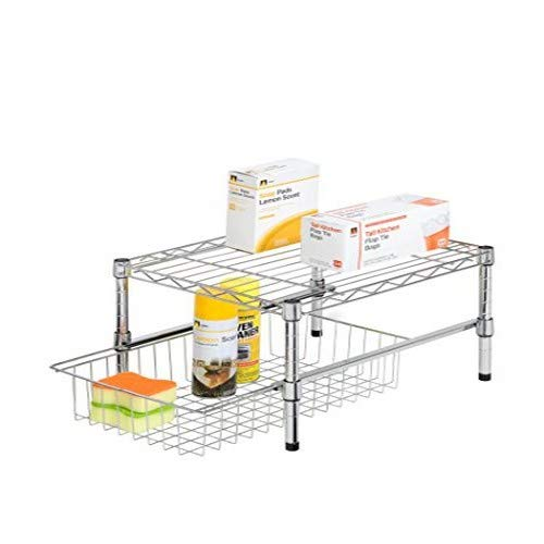 Honey-Can-Do Adjustable Shelf with Under Cabinet Organizer, 11.75 x 17.5, Chrome Plated Steel