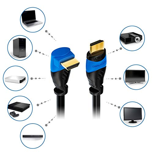 deleyCON 0,5m HDMI 90° Grad Winkel Kabel - Kompatibel zu HDMI 2.0/1.4 - UHD 4K HDR 3D 1080p 2160p ARC - Schwarz