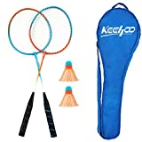 KH 2 Players Badminton Rackets Set-Lightweight & Sturdy-2 Racquets, 2 Shuttlecocks and Carrying