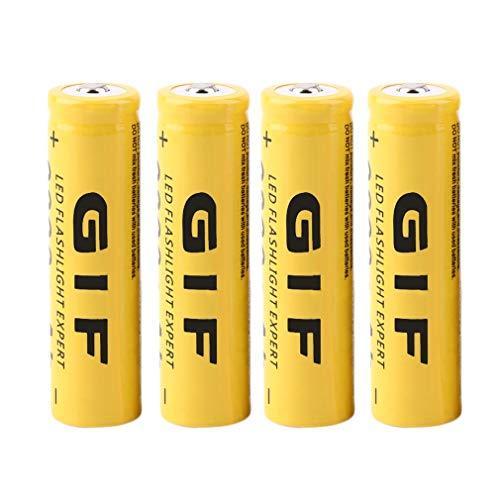 ANR 4PCS Ecológico 3.7V 18650 9800mAh Capacidad Batería Recargable de Iones de Litio para Linterna Antorcha LED Linterna Experto (Amarillo)