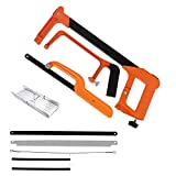 Hacksaw Set, Hacksaw Frame with Mini Hacksaw with 3 Replaceable Saw Blades, Handsaw for Sawing Metal, Wood,...