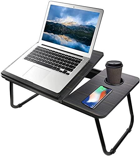ZXC Mesa de Escritorio Ajustable para computadora portátil, Mesa de Cama Plegable para computadora portátil con Ranura para Taza, Escritorio de Regazo Soporte multitarea, Black Foldable