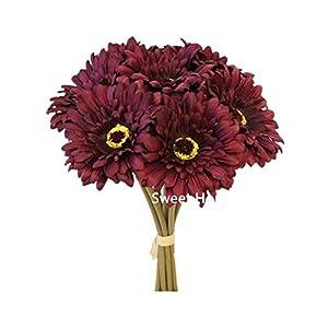 Silk Flower Arrangements Sweet Home Deco 13'' Silk Artificial Gerbera Daisy Flower Bunch (W/ 7stems, 7 Flower Heads) Home/Wedding (Purple)
