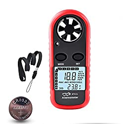 Anemometer Handheld Wind Speed Meter Gauge, Digital Air Temperature Anemometer HVAC Velometer Wind Velocity Meter Thermometer with Backlight Chill MAX AVG for Shooting Windsurfing Kitesurfing Sailing