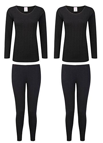 Heatwave® pack med 2 termiskt långärmad set med topp och byxor, underställ underkläder set, svart vit, storlek 10–24