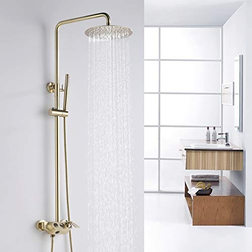 Jiuzhuo Moderno sistema de ducha de lluvia redondo de 25,4 cm con ducha de mano y grifo de baño de latón macizo cepillado dorado