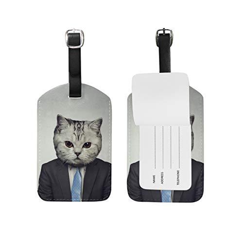 My Daily Cat en traje de negocios etiqueta de equipaje de piel sintética para maleta de viaje, etiqueta de equipaje