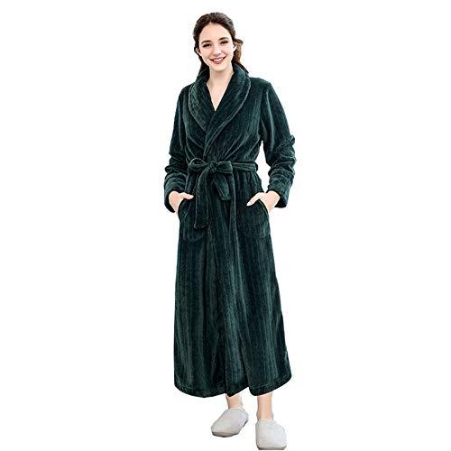 GLLMY Bademantel, weich und kuschelig, Flanell, für Paare, Winter, verdickt, warm, Nachthemd, Hauskleidung, für Herren und Damen, ganz, mit Tasche und Gürtel Gr. M, dunkelgrün