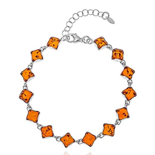 Copal Joya Pulsera con Ámbar, plata de ley 925, Cuadrado, con caja de joyas, idea regalo