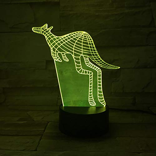 Wfmhra Animal Canguro Led Night Light Sensor táctil 7 Lámpara Decorativa Que Cambia de Color Niño Niños Baby Kit Nightlight Canguro 3D Lámpara