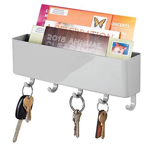 mDesign Portachiavi da parete in plastica – Portachiavi con vaschetta da appendere al muro – Portacorrispondenza da parete - grigio