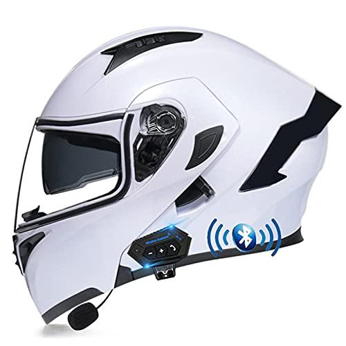 ZHANGYUEFEIFZ Bluetooth Casco de Moto Modular ECE Homologado, Cascos Motocicleta Scooter Integrado con HD Anti Niebla Doble Visera para Mujer Hombre (Color : G, Size : (XL/61-62CM))