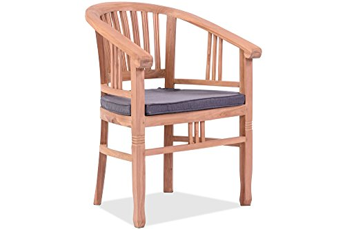 OUTFLEXX Armlehnensessel in Natur, hochwertiger Gartensessel, Garten-Stuhl aus Teakholz Teak, Holzstuhl inkl. Polster-Auflagen