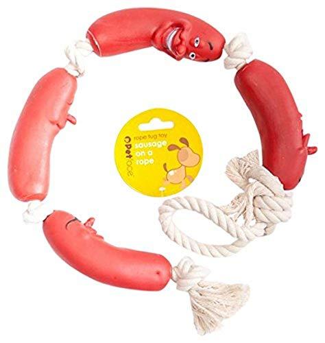 Petface Salchicha en una Cuerda Perro de Juguete, Color Rojo