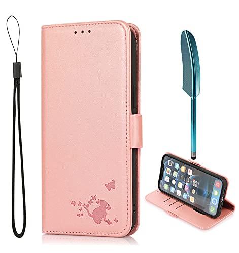 MingMing Funda para Redmi 9C NFC,Soporte Plegable,Funda Protector para Redmi 9C NFC,Funda Tapa Libro Flip Phone Cover Case para Redmi 9C NFC y Toca la Pluma del lápiz,Gato1