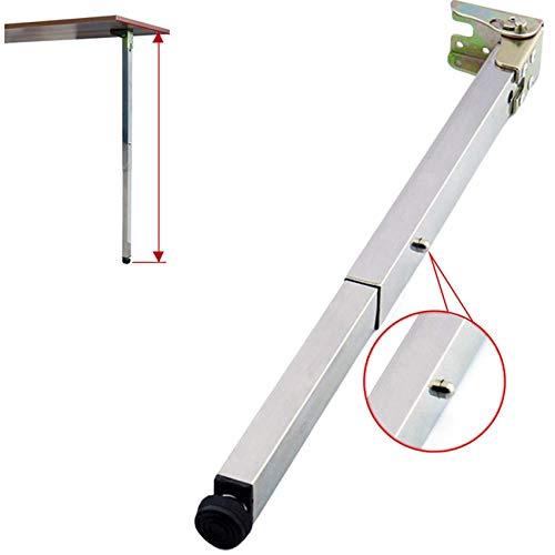 1X Edelstahl DIY Möbelfüße Tischbeine,Klapp Teleskop Bar Schreibtischbeine,Quadratische Stützfüße,Push-Pull Lift Esstische Schrankbeine,50-130cm,Verstellbare Schutzbasis,mit Schrauben(70cm)