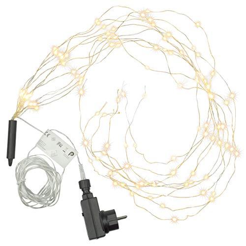Lichterregen – 100 LED warm weiß 10 Stränge mit je 10 LED Trafo Timer Lichterkette Weihnachtsdeko Partydeko Lichterbündel Weihnachten Silberdraht