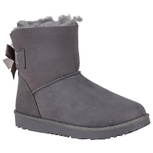 Damen Stiefeletten Schlupfstiefel Warm Gefütterte Stiefel Schuhe 150532 Grau Brooklyn 39 Flandell