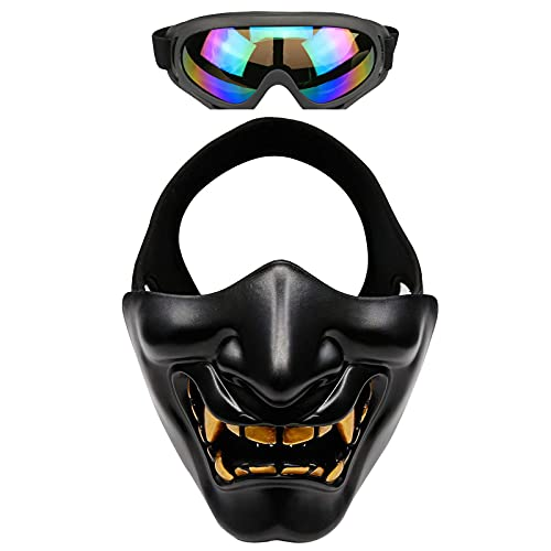 Airsoft Half Face Masks And Goggles Japanese Oni Samurai Half Mask Halloween