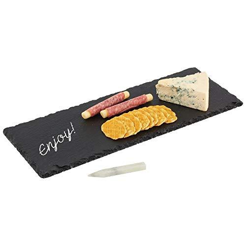 mDesign Plato de Pizarra Rectangular – Preciosa Tabla de quesos, útil para Embutidos, Tartas, Aperitivos, etc. – También Sirve como Pizarra de Tiza para menús o anuncios – con lápiz de Tiza – Negro