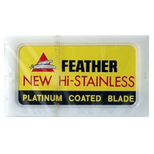 Shaving Factory Feather Edelstahl zweischneidige Sicherheits-Rasierklingen, 1er Pack (1 x 10 Stück)