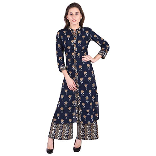 ANITAAS Women's Cotton Printed StraightFront Slit Navy Blue Kurti With Pant (AS1066)