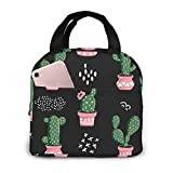 OIVLA Bolsa Térmica Cacti Repeating Cactus Nature Impermeable Fiambrera Isotermica,Lunch Bag con bolsillo trasero,Para hombres, mujeres y niños