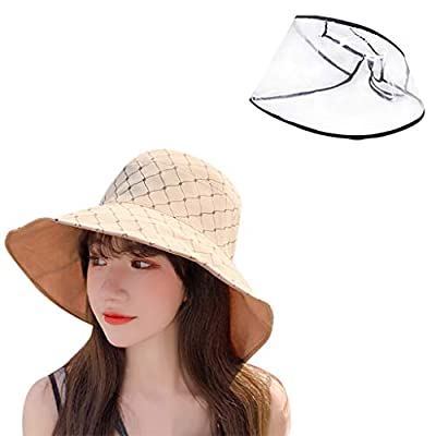 Safety Face Shields for Women, Safety Face Shield Respiratory Protection, Clear Protective Hat with Face Shield, Adult Protective Hat Protective Hat Cover Removable Fisherman Cap Hat (Khaki C)